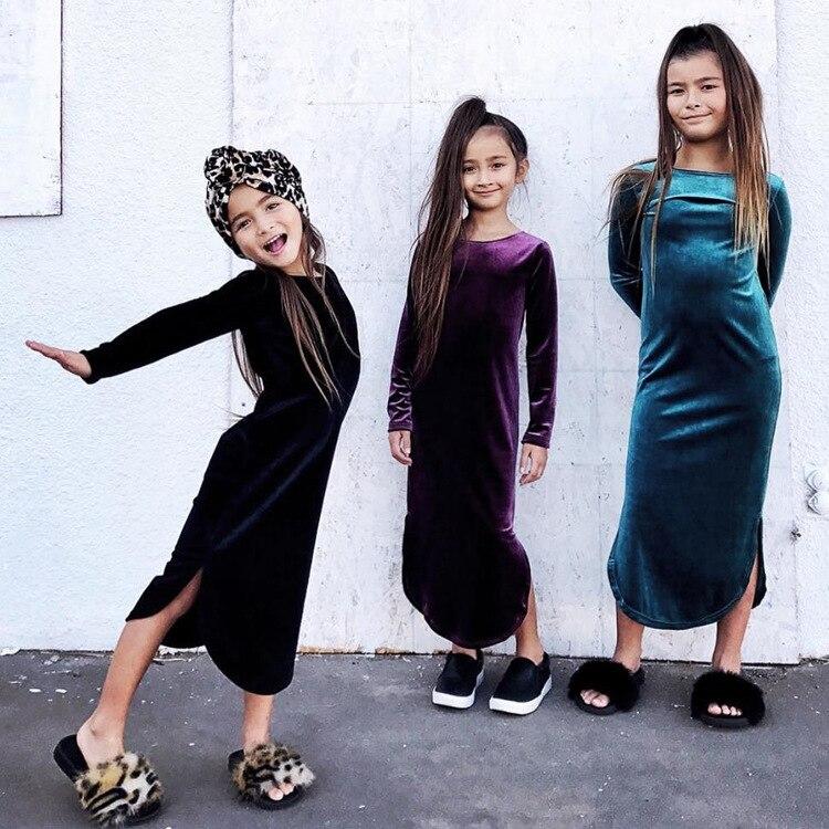 Vestido para niñas de Europa y Estados Unidos 2020, Vestido de manga larga para niñas dividido en ropa de terciopelo multicolor dorada para niñas
