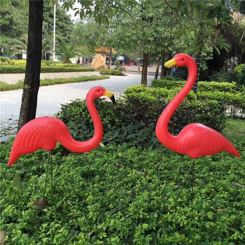 1 زوج واقعية كبيرة الوردي والأحمر فلامنغو حديقة الديكور الحديقة تمثال ساحة المراعي حزب الفن زخرفة المنزل الحرفية