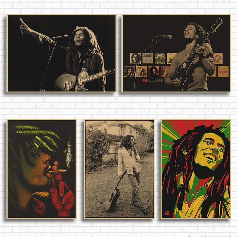 Vintage Classic Rock Reggae Wailing Wailers Bob Marley Poster Retro Kraft Paper Bar Cafe Home Decor Wall Sticker