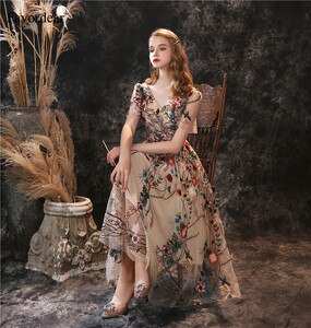 Favordear Champagne Tea-length Embroidery Lace  Evening Dress Vestido De Noite Short Sleeve Elegant Formal Dress Party Gown