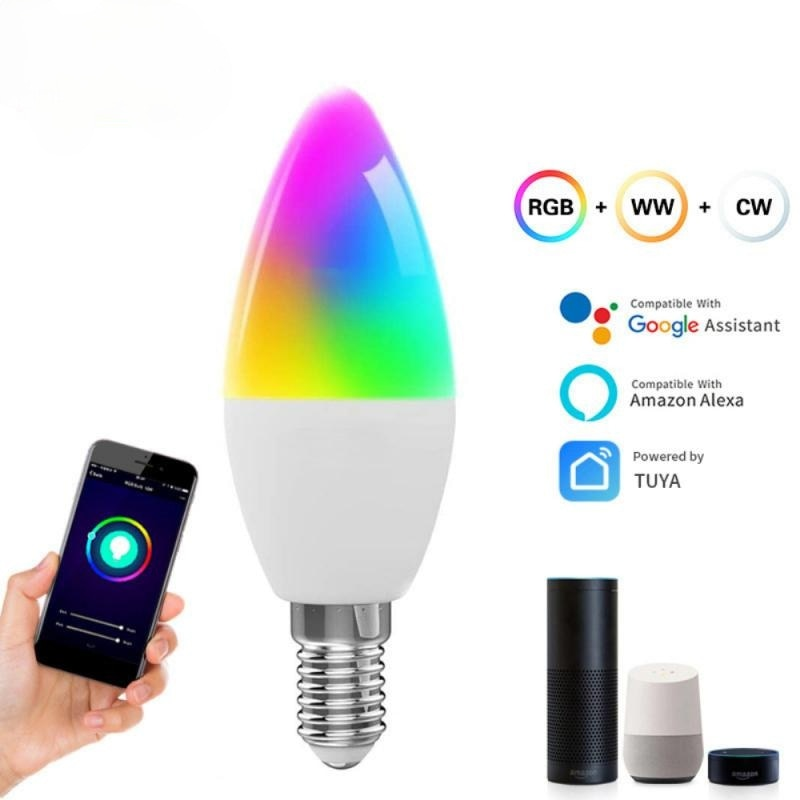 Tuya 5W WiFi Smart Candle Bulb with Smart Life APP Remote RGB Dimmable Led Light Bulb Work with Alexa Echo Google Home Assistant wifi smart led light bulb dimmable lamp 13w rgb c w smart life tuya app remote control work with alexa echo google home e27