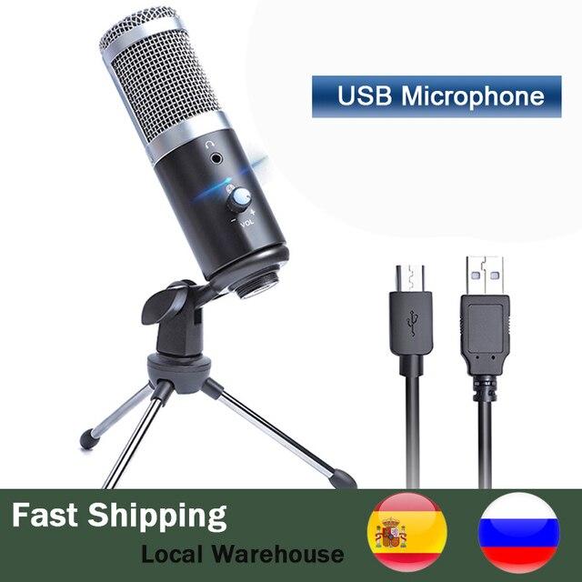 Профессиональный конденсаторный кардиоидный USB микрофон, Студийный микрофон для записи и пения на компьютере и ноутбуке, для потокового воспроизведения игр