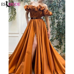 New Design Brown Satin A Line Prom Dresses 2021 Strapless Ruffles Neckline Long Evening Gowns Special Occasion Dresses