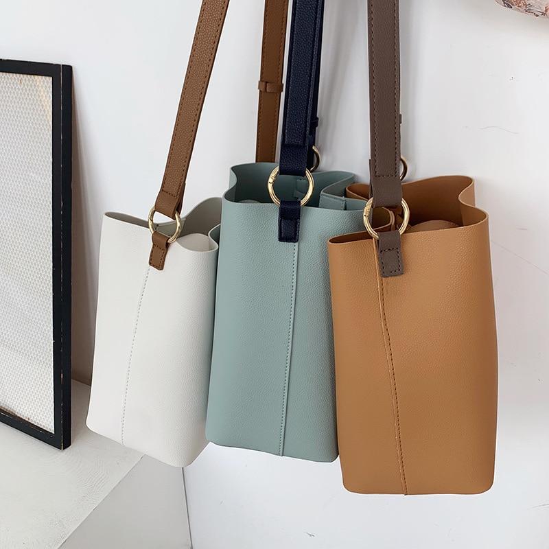 fashion large capacity bucket bag designer women shoulder bags luxury pu leather crossbody bag female simply panelled big purses