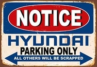 yilooom notice hyundai parking only metal 20x30 tin sign poster wall plaque