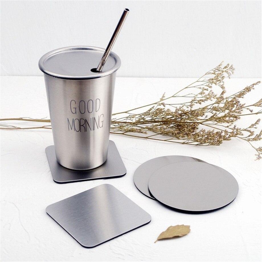 Soffe Ins estilo chapado en oro titanio taza de acero inoxidable almohadilla adecuada para taza de café Europea antideslizante alfombrilla de aislamiento térmico