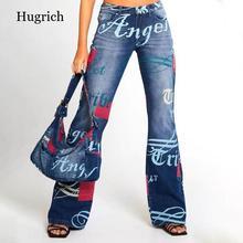Fashion Letter Pattern Jeans Women Blue Vintage Streetwear Denim Trousers Wide Leg Pants Lady Casual