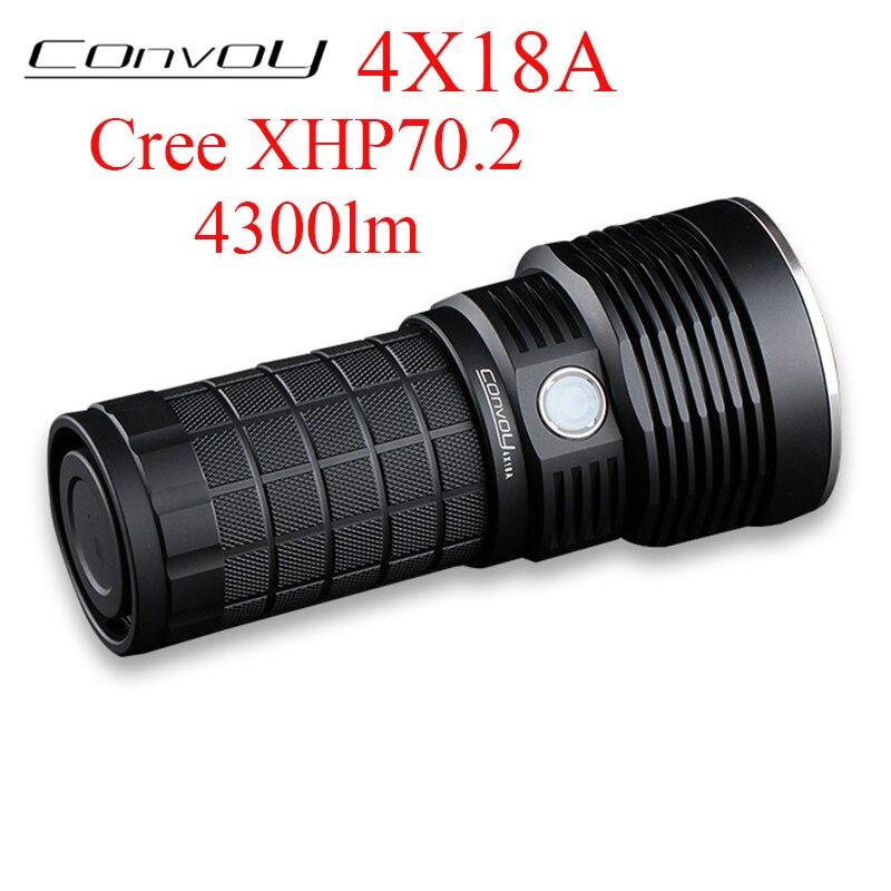 convoy 4x18a lanterna cree xhp702 4300lm tipo c interface de carregamento 18650 flash