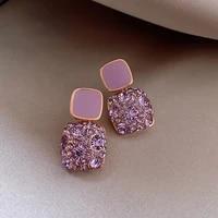 korean style female crystal stud earrings charm purple zircon stone wedding earrings for women
