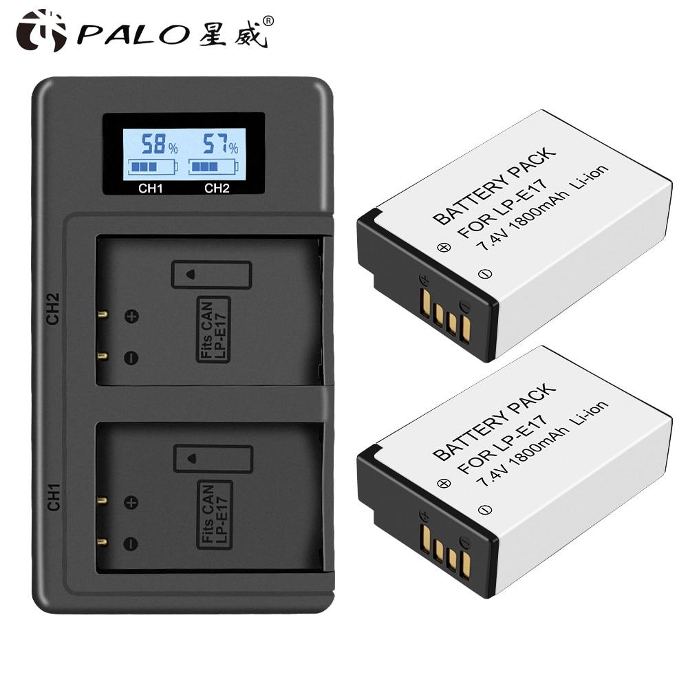 PALO LPE17 LP E17 LP-E17 Battery+LCD USB Dual Charger for Canon EOS 77D Rebel T6i T7i 750D 760D 800D 200D 8000D M3 M5 M6 T6s