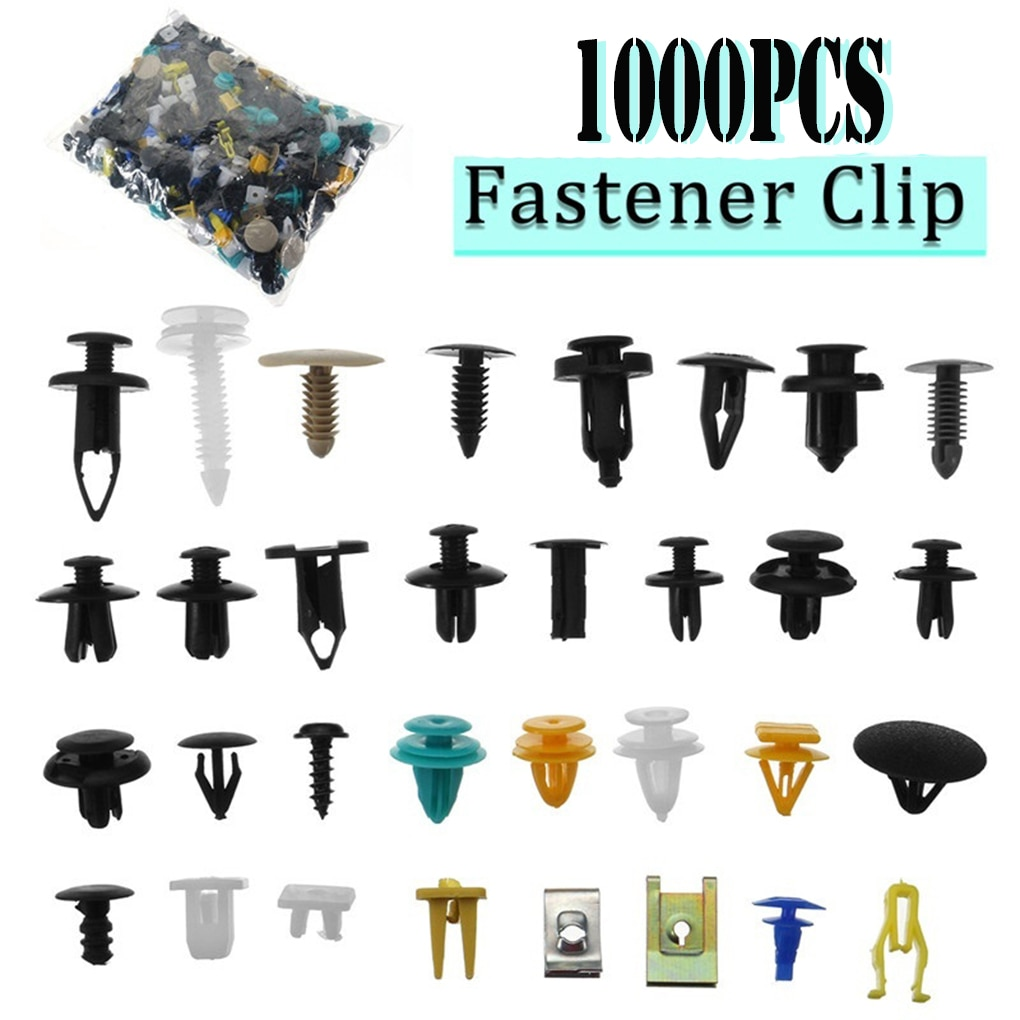 1000pcs/set Automotive Plastic Rivet Car Fender Bumper Interior Trim Push Pin Clips Kit Car Accessor