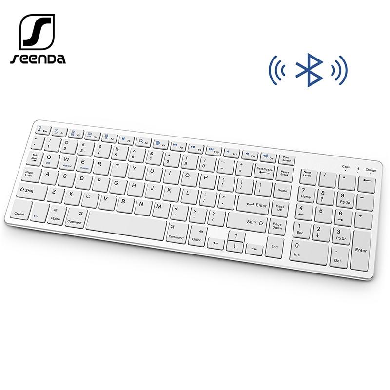 SeenDa-لوحة مفاتيح بلوتوث محمولة ، لاسلكية ، قابلة لإعادة الشحن ، مع لوحة أرقام ، تصميم كامل الحجم لأجهزة الكمبيوتر المحمول ، سطح المكتب ، الكمب...