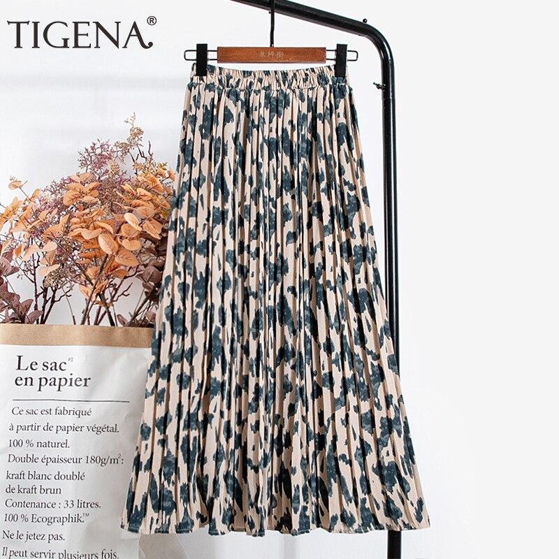 TIGENA leopardo estampado largo Falda plisada grande mujeres moda 2020 coreano Casual liso elástico de alta cintura de gasa falda femenina