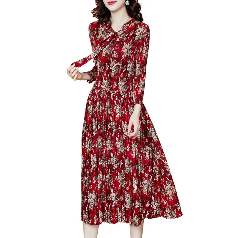 Plus Size Dress 2021 For Women 45-75kg Spring Bow Collar Three Quarter Sleeve Fashion Printed Stretch Miyake Pleated Clothes