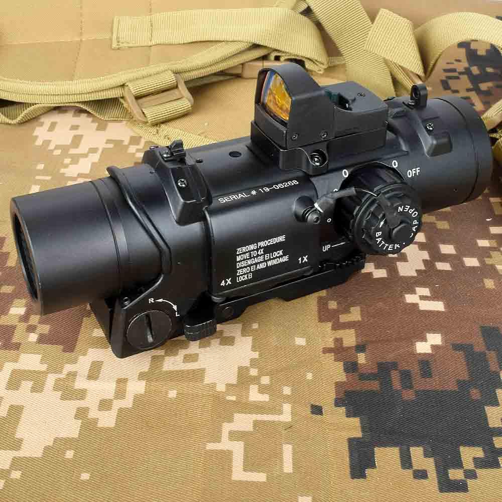 Mira táctica 1x-4x fija de doble uso con Mini punto rojo mira para Rifle caza tiro