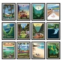 Affiches de voyage Vintage de lile de la reunion  toile de peintures murales Vintage  affiches dart imprimees  decoration de maison  cadeau