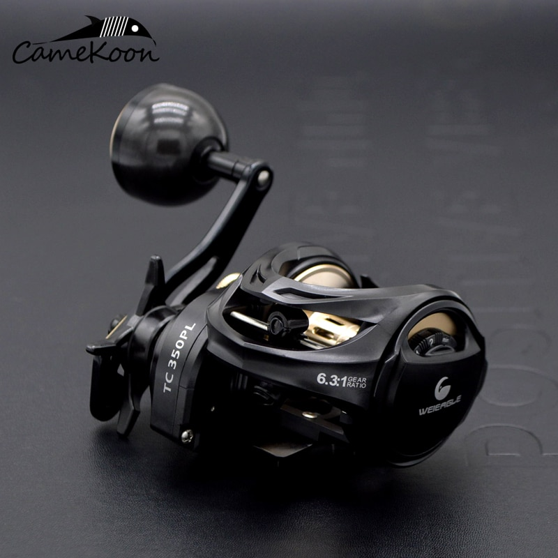 CAMEKOON Size 350 Low Profile Baitcasting Reel with Extra Dual Handle 15KG Drag 9+1 Bearings Carbon Body Saltwater Jigging Coil enlarge