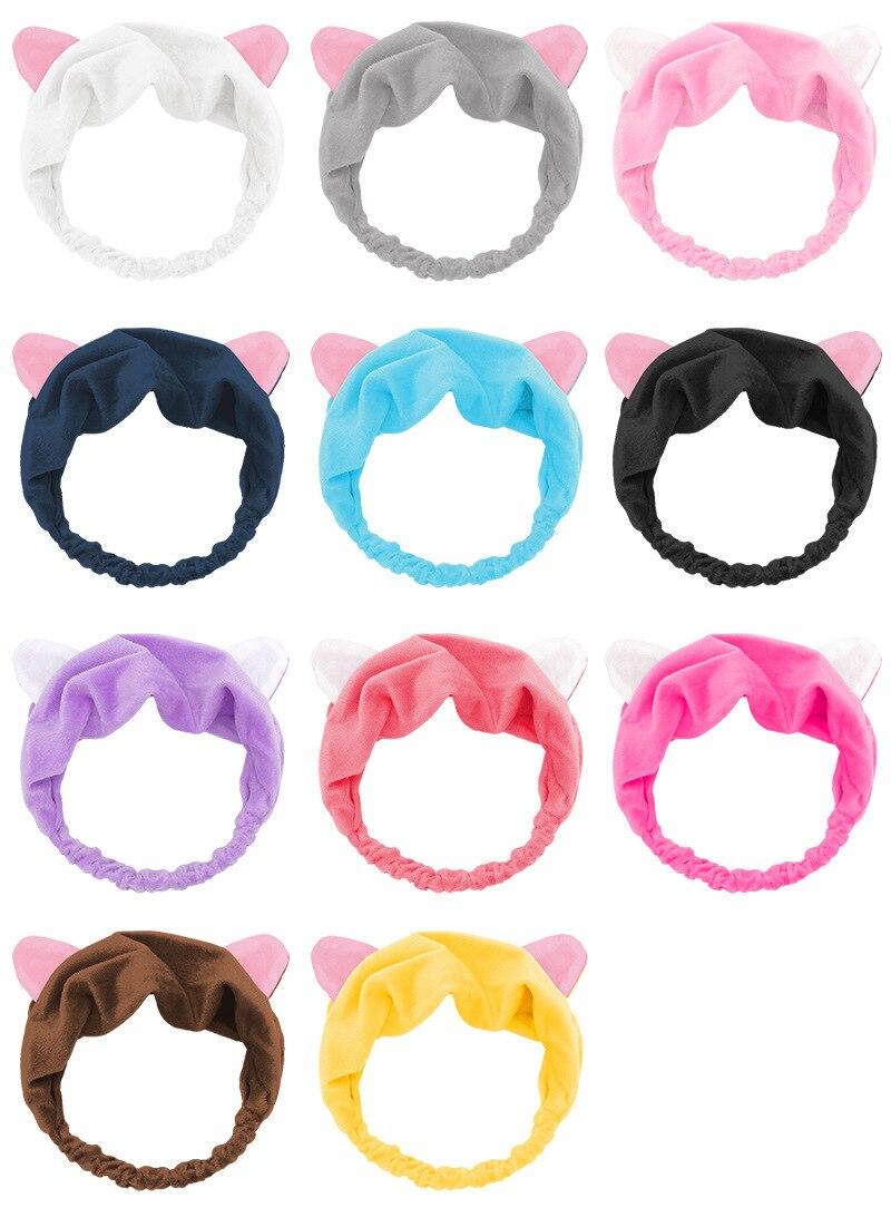 Модный и милый носовой платок с кошачьими ушками повязка для волос женское лицо и спортивный макияж
