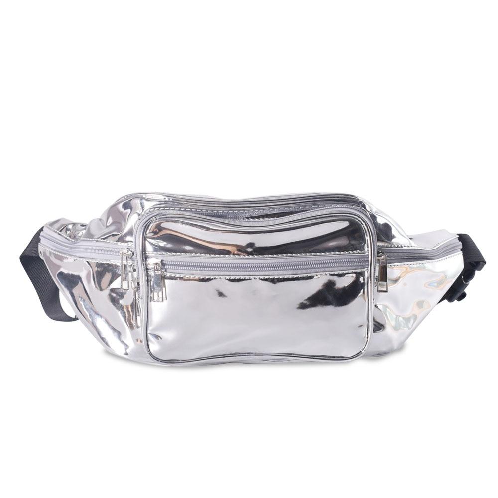 Laser Waist Bags for Women, Pure Color Fanny Pack, Women's Belt Bag, Sliver Pu Waist Pack, Laser Chest Phone Package Bag