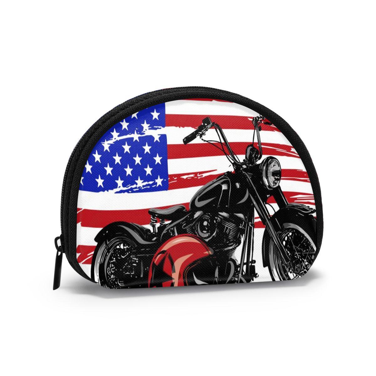 2020 cartera inteligente para hombre y mujer, billetera para tarjetas de visita, Mini billetera para tarjetas de crédito, Estilo Vintage, motocicleta americana Chopper con bandera