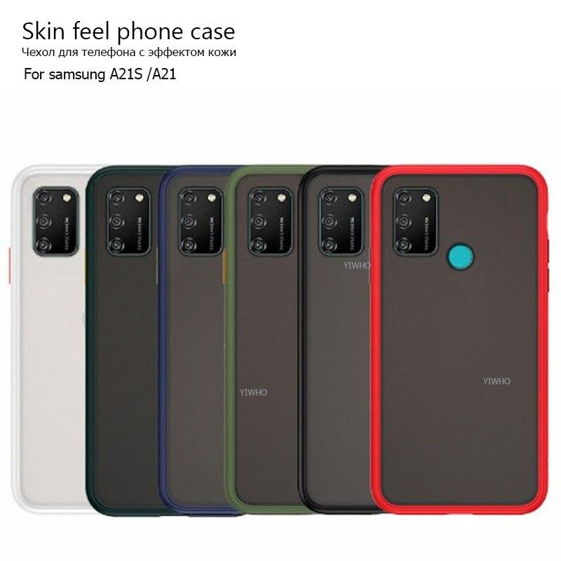"""Pele sentir caso do telefone para samsung galaxy a21s capa a217f 6.5 """"a21 fosco silicone à prova de choque amortecedor contraste cor sólida casees"""