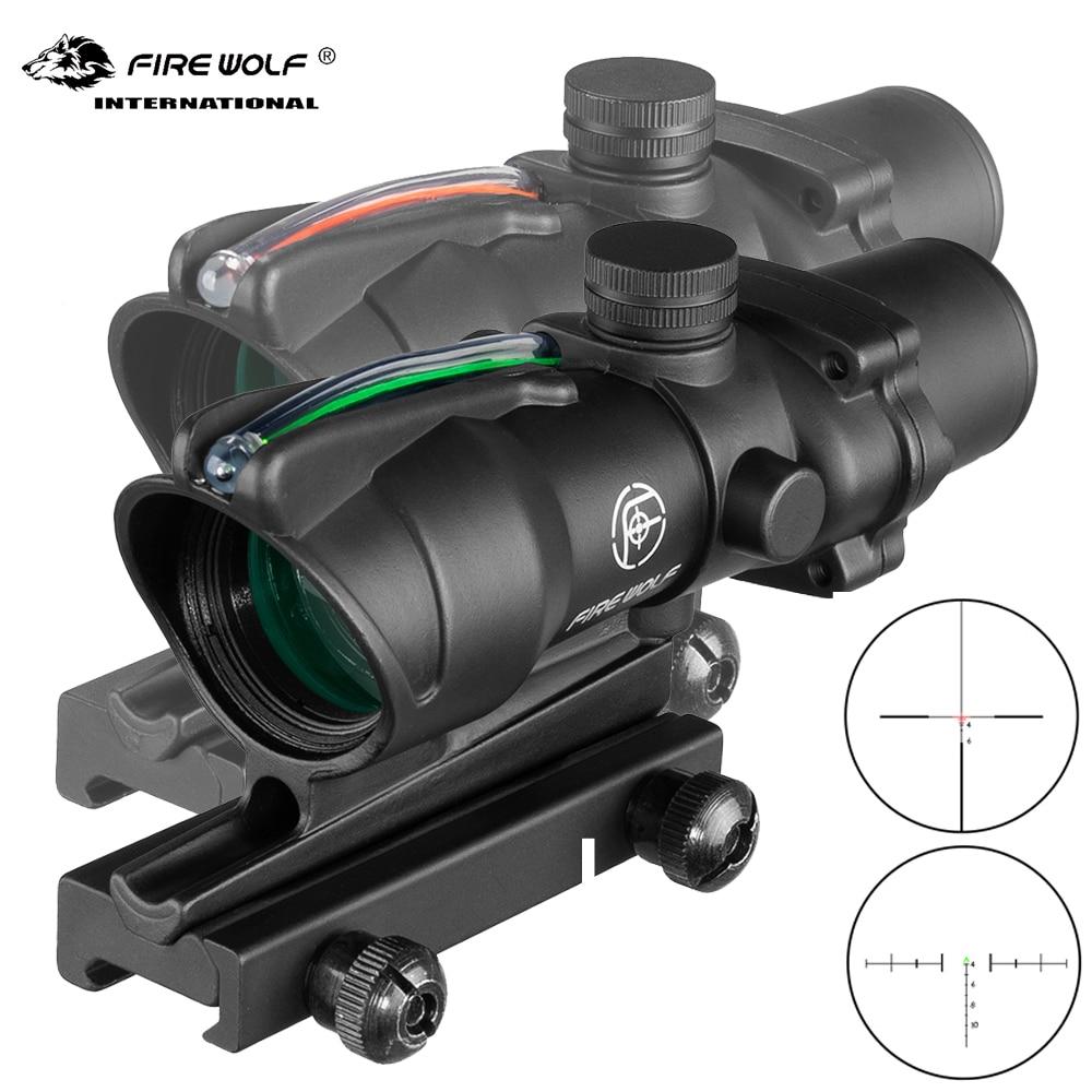 Lobo de fogo 4x32 tático rifle scope fibra real óptica verde vermelho ponto iluminado gravado retículo caça visão óptica rifle