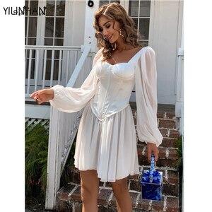YILINHAN  Women's Elegant White Satin Dress Long Lantern Sleeves A-Line Mini Dress Slim Sexy Chiffon Dress Women