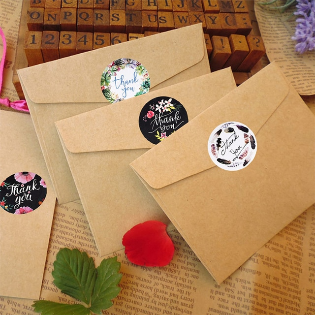 500pcs/Roll Round Floral Thank You Sealed Label Sticker 4