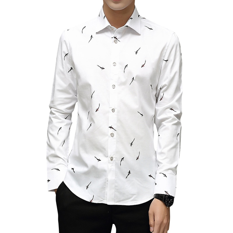 BROWON Brand Luxury Men Shirt Long Sleeve Turn-down Collar Fish Print Party Shirt Big Size 5XL Men Clothes 2020