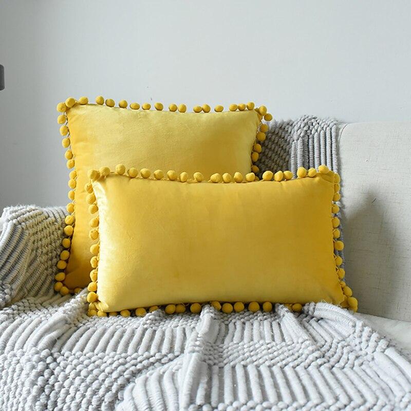 Cojines decorativos para sofá, Bola de Pelo, funda de terciopelo de encaje, funda de cojín para sala de estar, funda de almohada, almohada decorativa para cama, 45x45/30x50cm