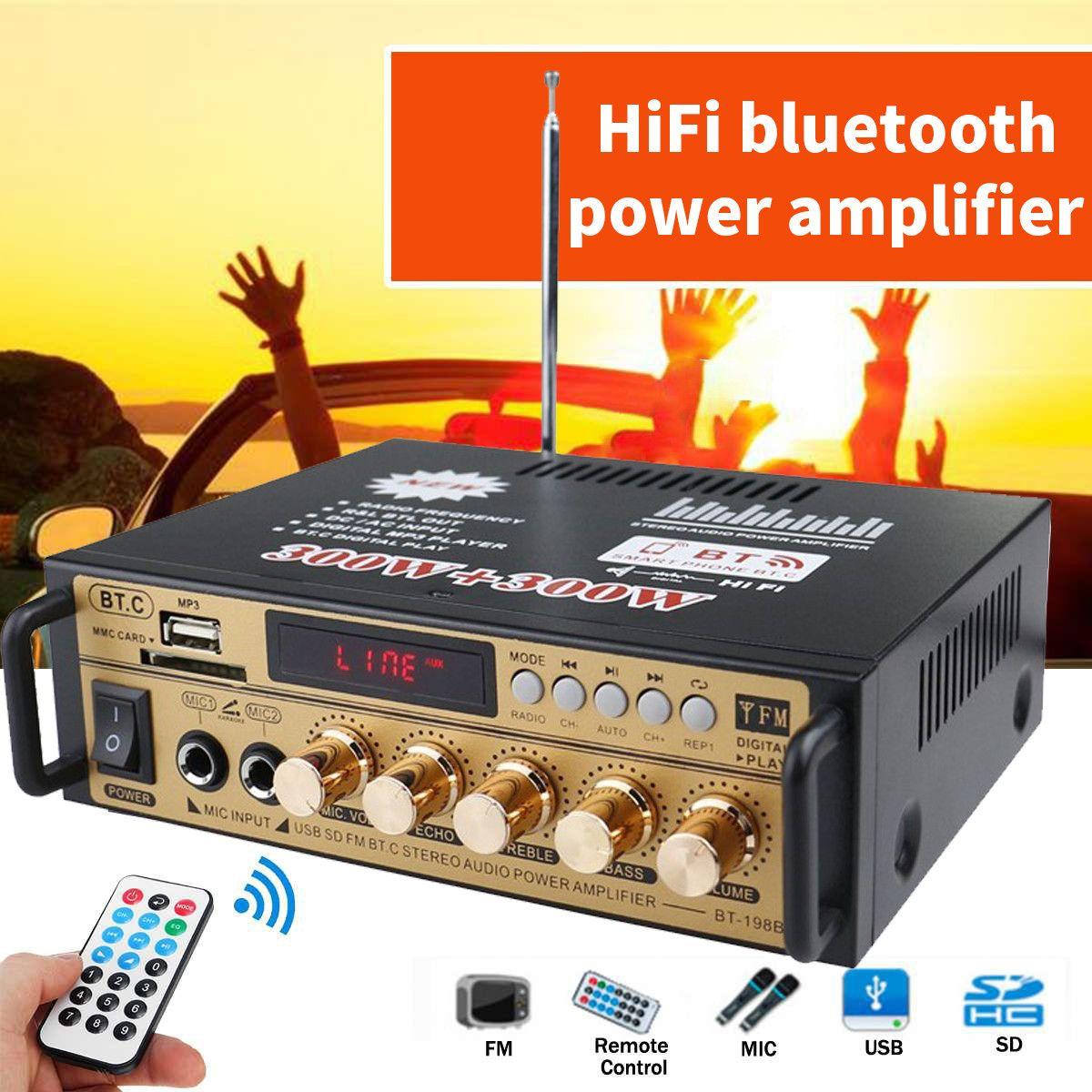 AMPLIFICADOR DE Audio estéreo con bluetooth 300W + 300W, 2 canales, FM,...