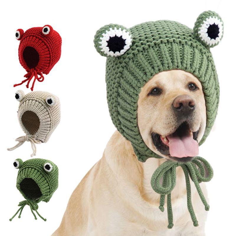 Dibujos Animados rana en forma de cachorro vendaje tejido Cap elástico cómodo Durable invierno cálido mascota perro con gorrito sombrero Pet suministro