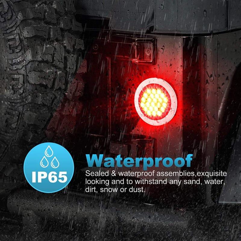 2 uds. Luz trasera de coche 24 LED redondo resistente al agua freno señal de giro cc 12V lámparas luminosas Set Exterior bombillas