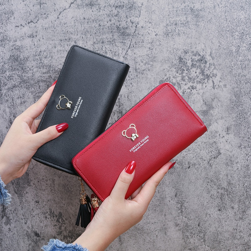 Small Wallet Zipper Cartoon Cute Short Thin Coin Pocket Minimalist Pu Leather Pink Red Color Portemonnee Security Card Holder