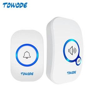 TOWODE Home Wireless Doorbell 433Mhz Welcome Friend Smart Doorbell 150Meters Long Distance 32 Songs 4 Level Volumes Door Chimes