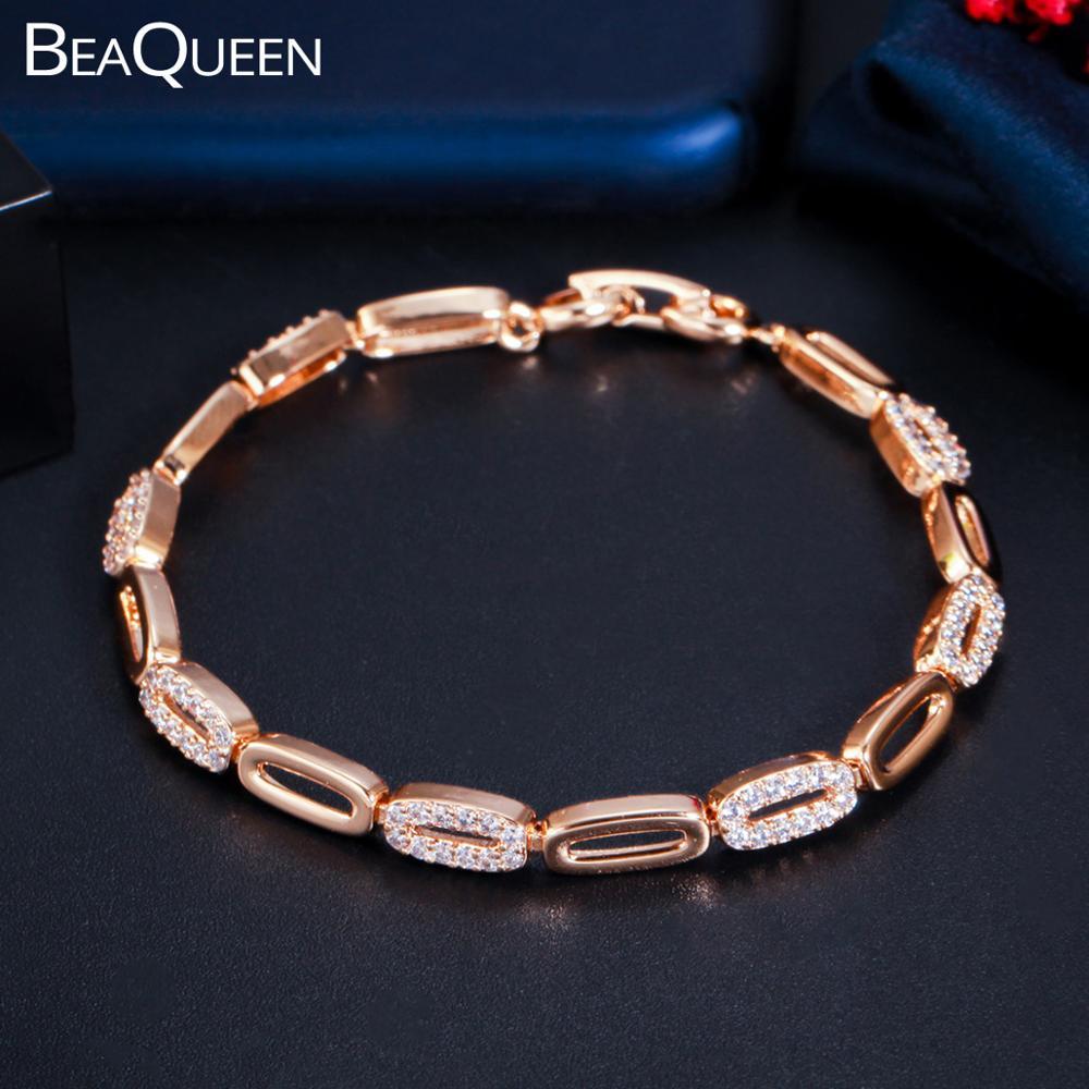 Beaqueen mais novo oco para fora forma oval champanhe cor de ouro zircônia cúbica pavimentada link corrente pulseira festa jóias para mulher b208