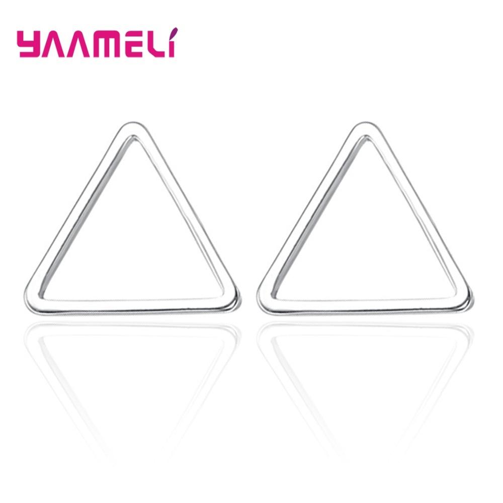 Женские серьги-гвоздики из серебра 100% пробы, в виде треугольника, квадрата, круга