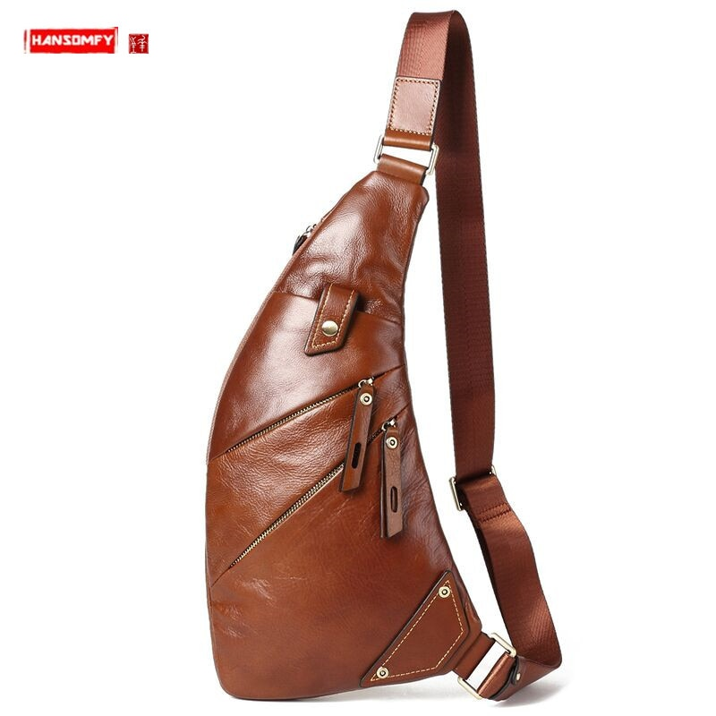 Bags 2021 New Trend Leather Men Chest Bag Genuine Leather Men's Bag Casual Small Messenger Bag Korean Retro Shoulder Bag Male