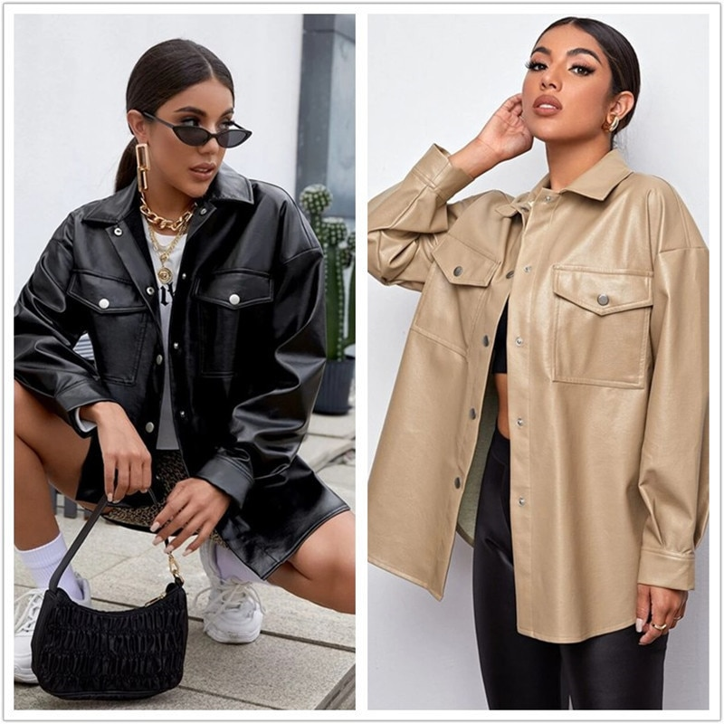 Повседневная однотонная куртка из искусственной кожи, женская уличная одежда, осенне-зимние пальто больших размеров, черные модные куртки ...