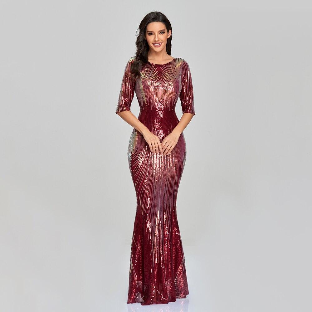 فستان سهرة أنيق على شكل حورية البحر للنساء ، فستان سهرة ، ياقة دائرية ، ظهر على شكل V ، نصف كم ، XUCTHHC
