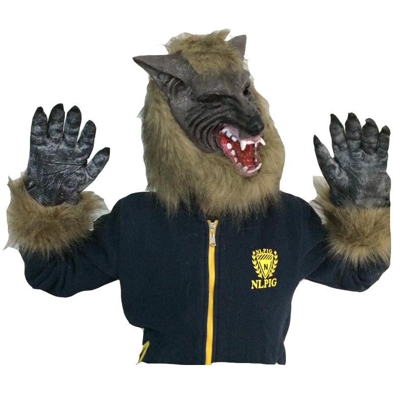 Halloween horror scary face latex animal wolf headgear stage props children wolf mask wolf head set