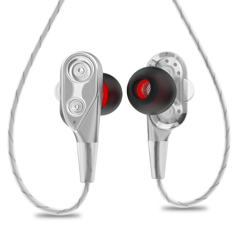 Auriculares con Cable HiFi de 3,5mm, altavoz Quad-core Dual-dinámico, auriculares intraurales, Cable Flexible, antienvoltura con micrófono HD (plateado)