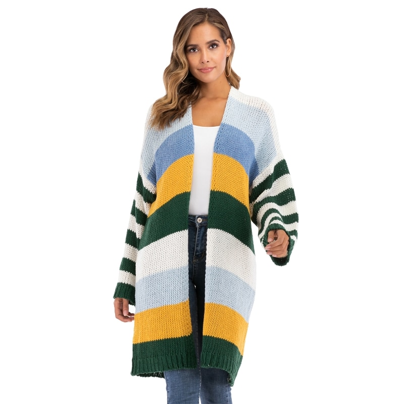 Women Flare Long Sleeve Knitted Cardigan Colorblock Stripes Loose Sweater Coat enlarge
