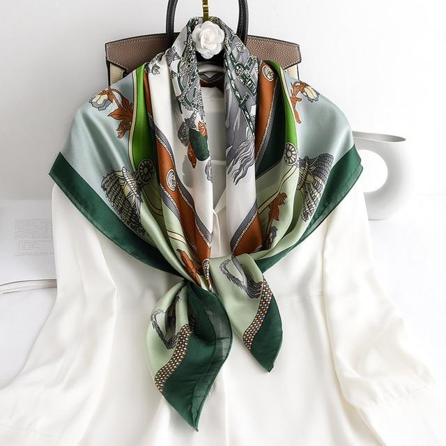 90cm Square Silk Scarf Spring Summer New Hijab Headband Foulard Scarves Design Print Pashmina Shawl Lady Wrap Neckerchief