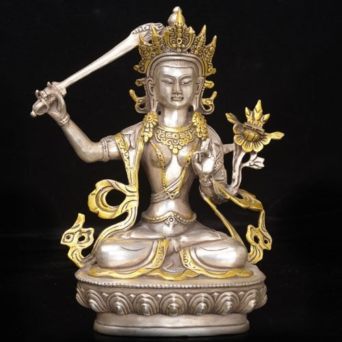 Estatua de budismo tibétano   dorada de plata tibétana de la vendimia China, --- Manjushri