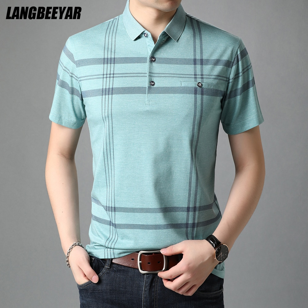 قميص بولو رجالي مخطط بأكمام قصيرة ، تي شيرت غير رسمي ، ملابس مصممة ، جودة عالية ، صيف 2021