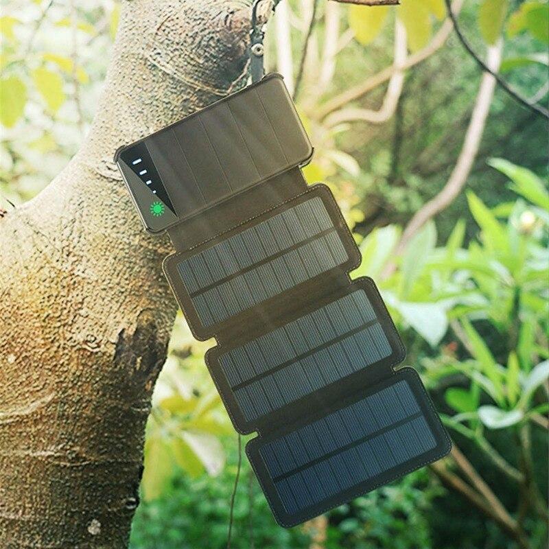 بنك الطاقة المحمول 10000mAh المزدوج USB ميناء بطارية الهاتف الخلوي في الهواء الطلق المحمولة قابلة للطي طوي لوح طاقة شمسية مضاد للمياه شاحن