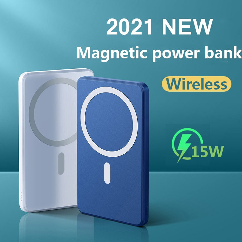 2021 NEW 10000mAh Portable Magnetic Wireless Power Bank For Iphone 12 13 Pro Max 15W Fast Charger Mo
