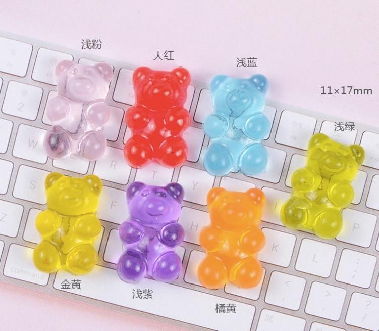 100 Uds oso abalorios de resina colores suave caramelo simulación juguete encanto DIY accesorios para móvil Shell decoración abalorios de resina