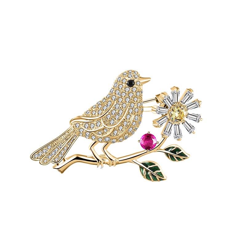 2020 Luxury White Rhinestone Bird Brooches for Women Men Crystal Wedding Bridal Bouquet Animal Brooch Pin Engagement Jewelry